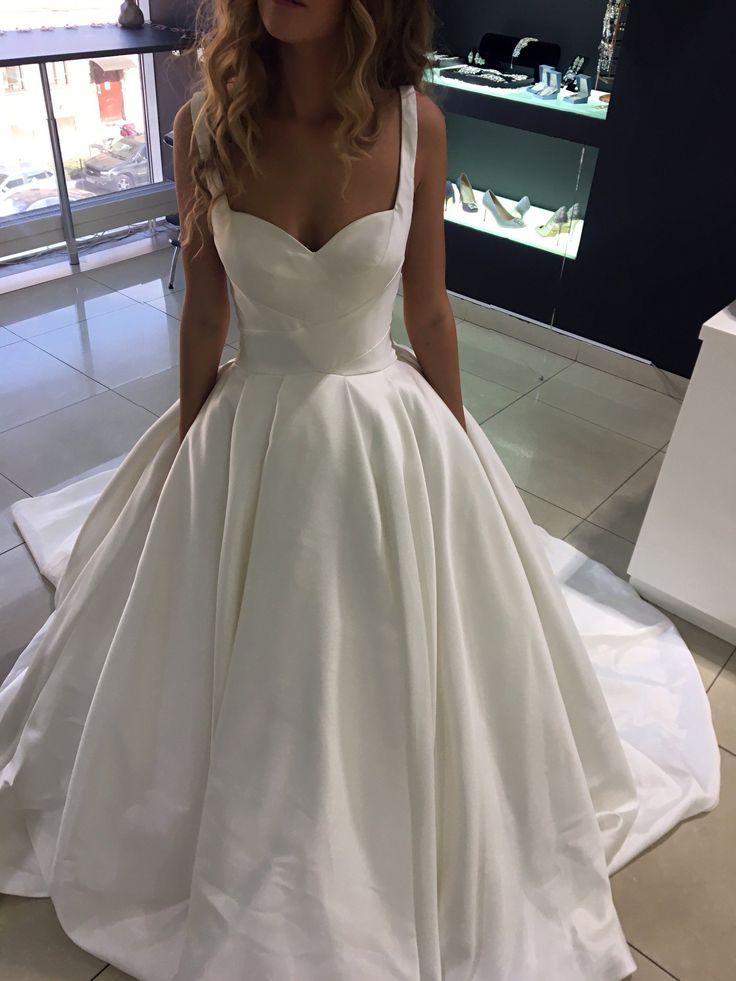 Olivia Bottega Official. Minimalistic open mikado wedding ceremony costume Priscilla with s…