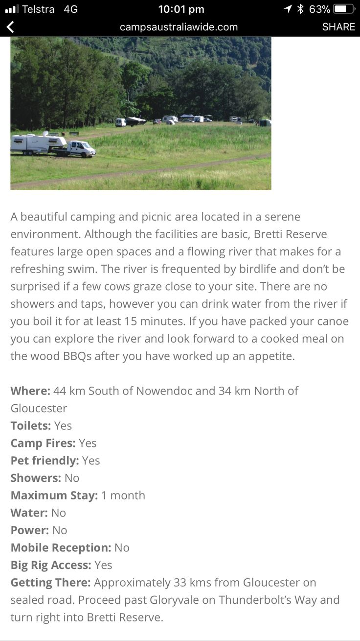 A beautiful camping and picnic area located in a serene environment. Although the facilities are basic, Bretti Reserve features large open spaces and a flowing river that makes for a refreshing swim. Free camp  Dog friendly  Nsw