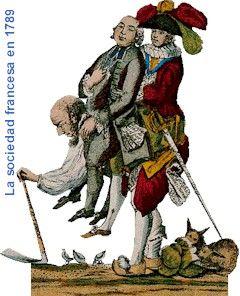 Viñeta cómica que representa a un hombre del pueblo soportando el gasto de la nobleza y la realeza.