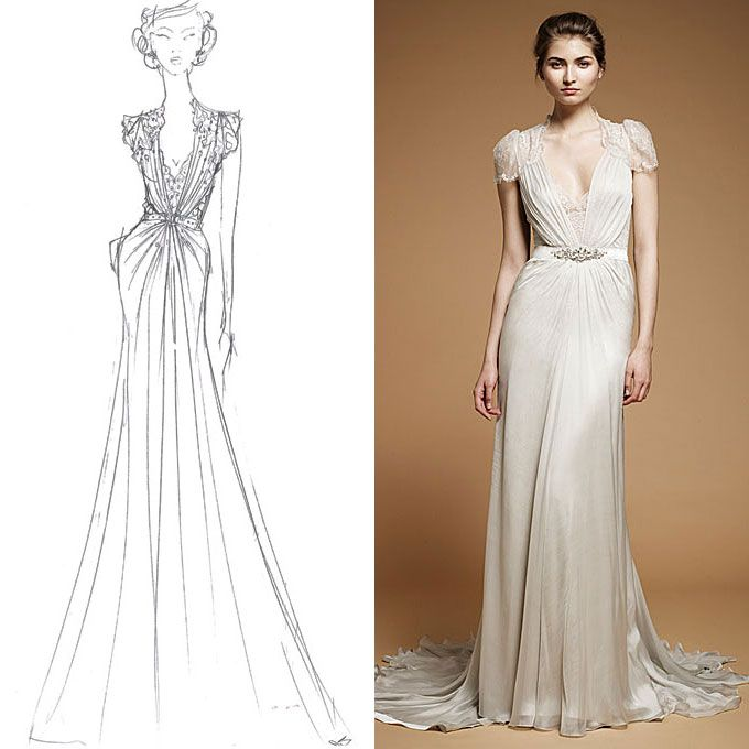 "Brides.com: Sketch to Dress: Fall 2012. Jenny Packham. British designer Jenny Packham says she drew inspiration for her Fall 2012 collection from the glamorous serenity of nocturnal butterflies, balletic silhouettes, and sculptured corsetry. Most of the looks in the collection feature French lace, cascading silk chiffons, and gleaming satins. But the designer says the gown shown here, called Aspen, is set apart from the rest of the season: ""The Aspen dress is my favorite. It combines the ..."