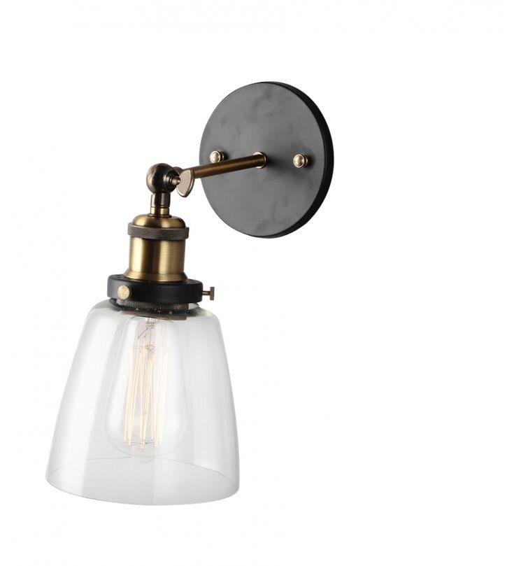 Vägglampa vintage - Mässing och glas - Reforma Sthlm