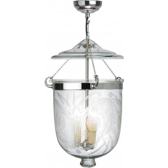 Bell jar lanterns were originally hung in vestibules and entrance halls of Georgian homes and the bell jars stopped the candles from being blown out when the door was opened
