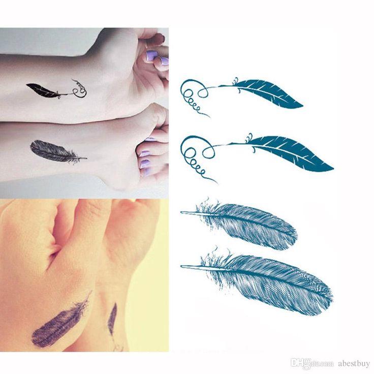 узор перьев временного милый стикер татуировки тела нежный прохладный секс боди-арт продуктов