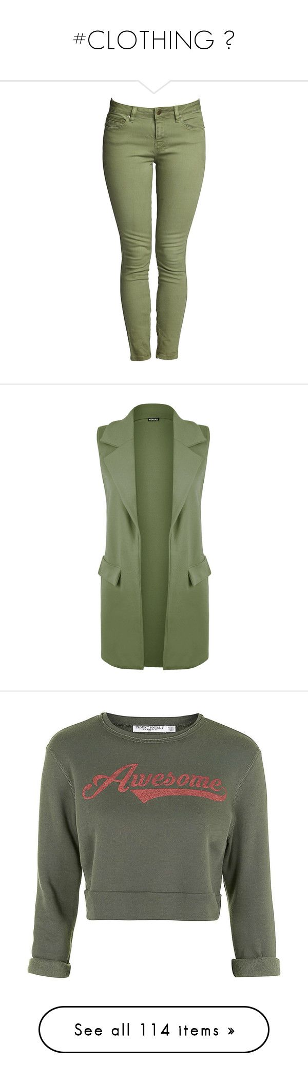 """""""#CLOTHING ♥"""" by valenpocitovillarroel on Polyvore featuring tops, t-shirts, shirts, blusas, military green, military t shirts, sleeveless tee shirts, round collar shirt, green t shirt y balmain t shirt"""