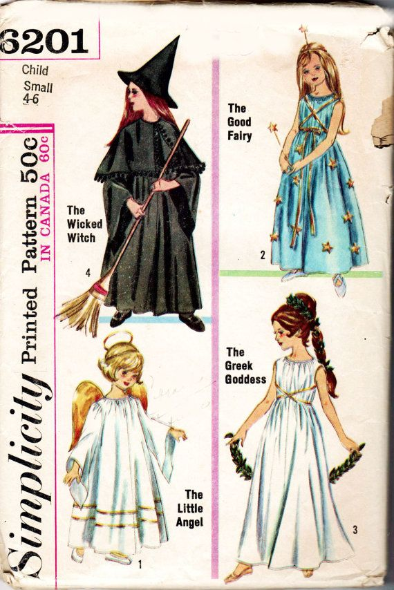 Little Girls Vintage, 1950s Halloween Costume--Simplicity 6201--Wicked Witch-- Good Fairy--Little Angel--Greek Goddess--Child Size Small--4-6. See back of envelope for measurements and fabric needed.  This pattern is in very good condition. All pieces are present. A few have been carefully cut out. Watch for more sewing items including books, patterns, pattern company handouts, Cooperative Extension and 4-H sewing guides, quilting books and magazines, early copies of Threads and other…