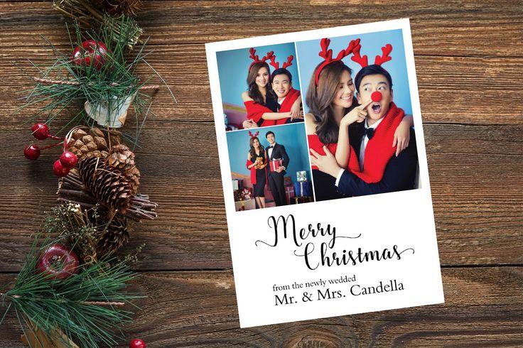 3 Photo Christmas Card, Custom Holiday Card, Engagement Christmas Card, Newlywed Christmas Card, Custom Photo Card, Merry Christmas Card 5x7 by yellowbellyproject on Etsy