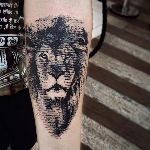 lion tattoo dotwork aslan dövmesi silüeti