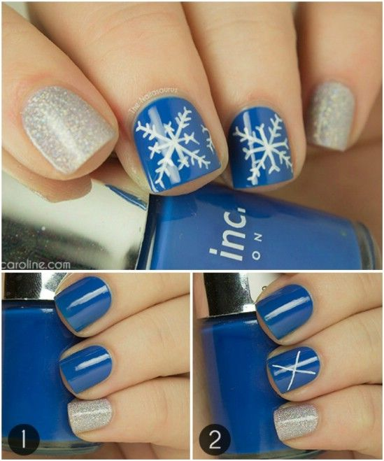 Soft Snowflakes - 20 Fantastic DIY Christmas Nail Art Designs That Are Borderline Genius #KohlsBeauty