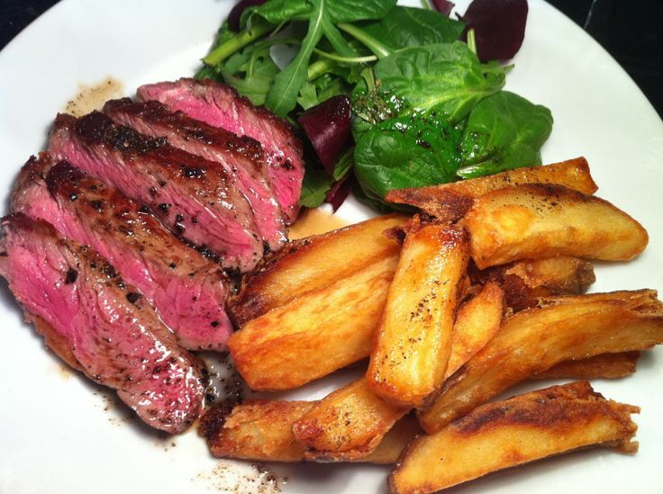 USDA Prime Striploin Steak with Bone Marrow Butter and Lard - Fried Triple Cooked Chips
