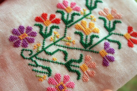 Flowers from the Cyclades hand-embroidered folk art by vasiliad