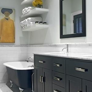 Chevron Canister - Transitional - bathroom - Benjamin Moore Horizon - 346 Living