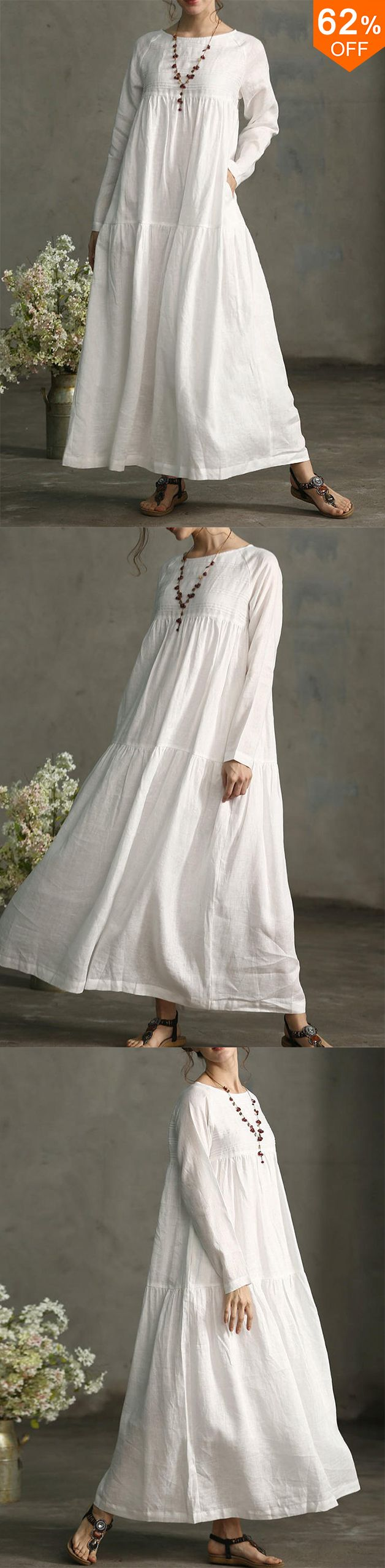Lrecord Vintage Long Sleeve Pleated Maxi Cotton Dress Plus Size From Women S Clothing On Banggood Com Maxi Dress Cotton White Dresses For Women Fashion [ 2551 x 628 Pixel ]