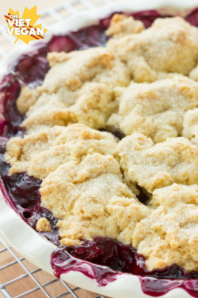 Vegan Blueberry Cobbler   The Viet Vegan   A layer of blueberries are studded with fluffy, sugar-crusted biscuits