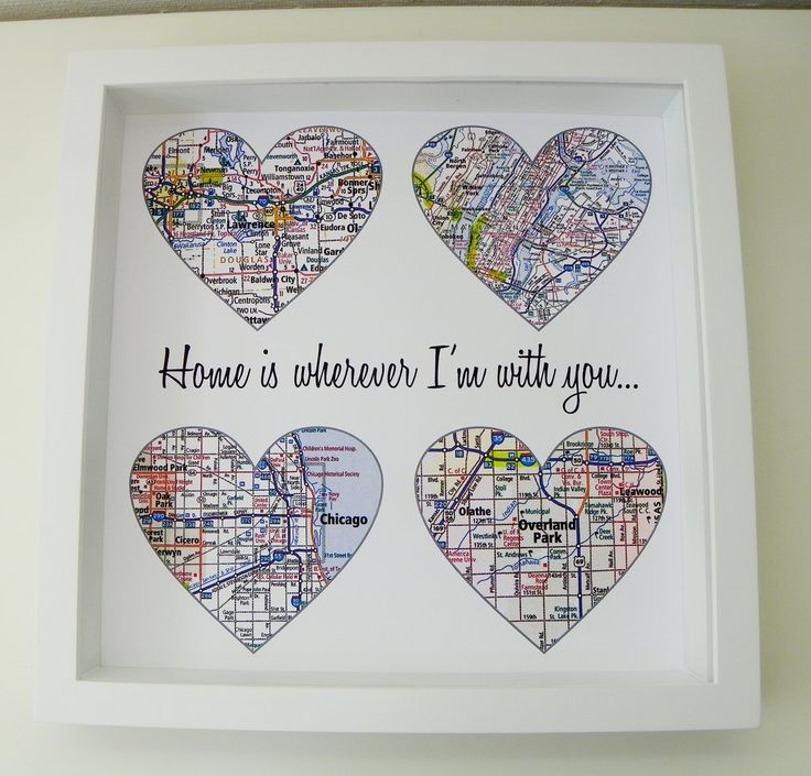 """Map Heart Personalized Anniversary Print. This digital print is customized to """"heart"""" your special day. Choose three or four locations to feature on your personalized heart maps. Your print comes beau"""