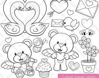 Día de San Valentín Set de Clip Art y Papeles por pixelpaperprints