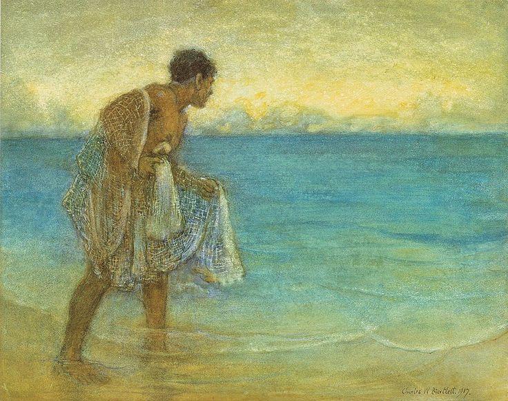 Pescador havaiano. Aquarela no papel. 1917. Charles W. Bartlett (1860-1940). Encontra-se no Museu de Artes de Honolulu.  Fotografia: Richard Miles e Jennifer Saville.