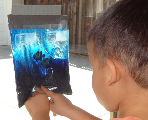 Ocean in a Bag at Gift of Curiosity. Bring all the wonder of the ocean into your child's hands by orchestrating this simple craft! Sand, hair gel, liquid watercolors, plastic fish and a ziploc bag is all you need.