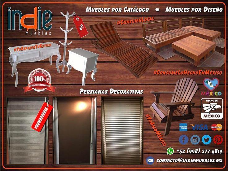 PERSIANAS DECORATIVAS a precios de fabricante de todos los estilos texturas colores medidas automáticas y manuales; MUEBLES POR CATÁLOGO y MUEBLES POR DISEÑO de madera dura pesada tratada y de gran durabilidad especial para interiores y exteriores tomando en cuenta la humedad el salitre y el clima de nuestro bello Quintana Roo. #YoAmoMéxico #ConsumeLocal #ConsumeLoHechoEnMéxico  #IndieMuebles #TuEspacioTuEstilo #Promociones #Muebles #Persianas #PersianasDecorativas #MueblesPorCatálogo…