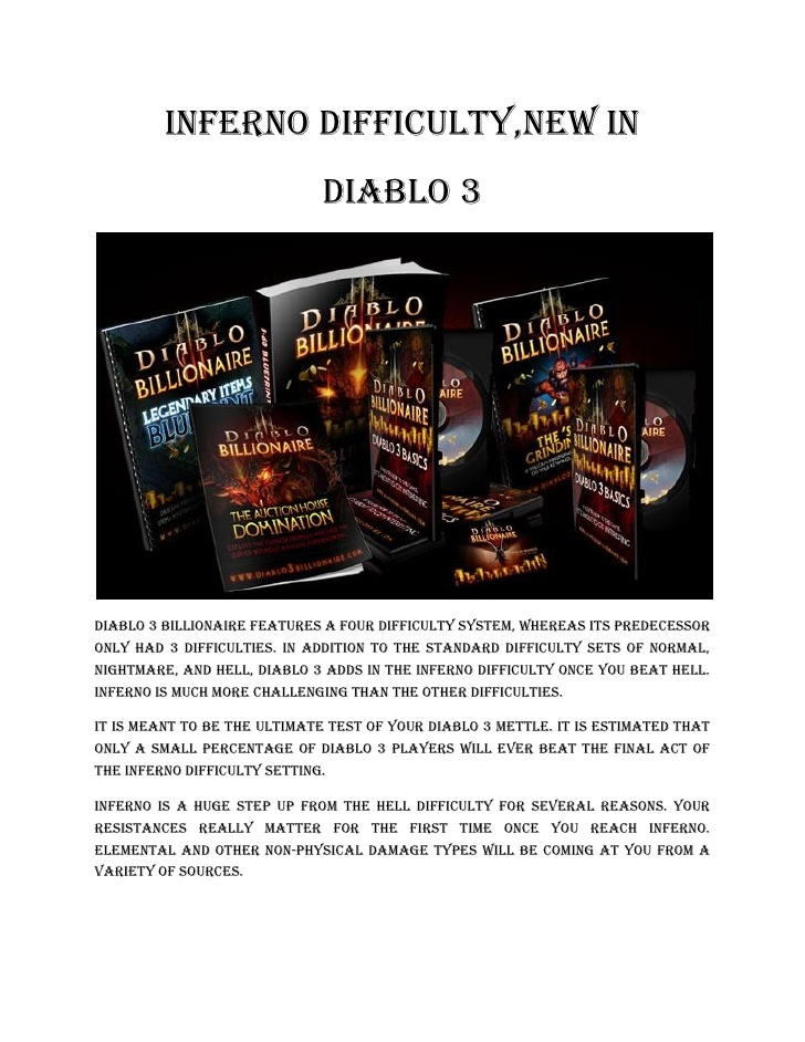 inferno difficulty #diablo 3 #billionaire #gold #guide