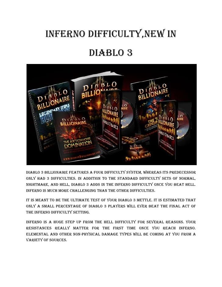 inferno difficulty #diablo 3 #billionaire #gold #guide