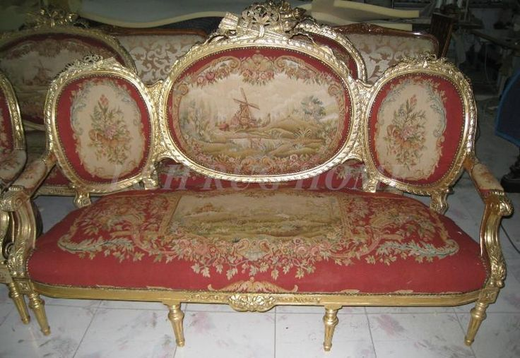 Antique Set of sofa and chairs, Antique handmade living room furniture, Aubusson sofa cover, woolen material Artificial carving