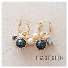 Handmade✋ #pgaccesorios #chapadeoro #aretes #arracadas #earrings #handmadejewelry #hechoamano #100%amano #perlas #cristal #joyeria