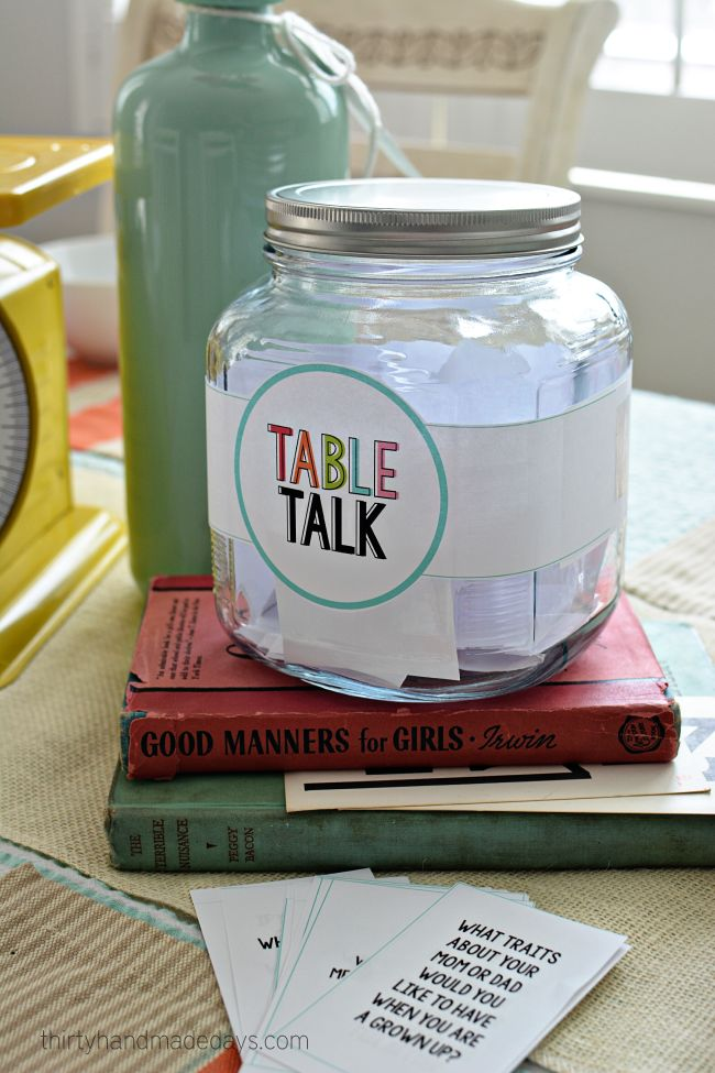 Table Talk - Dinner table idea with printable questions for families www.thirtyhandmadedays.com: