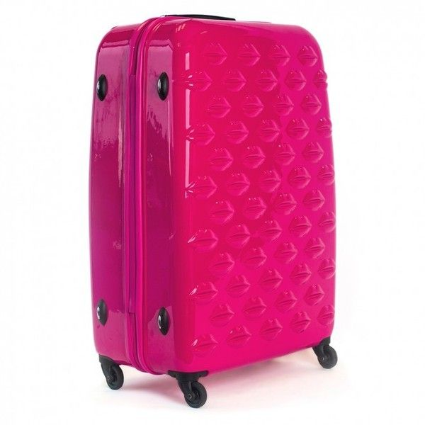 Shocking Pink Hard Sided Lips Large Spinner Case ($390) ❤ liked on Polyvore featuring bags and luggage