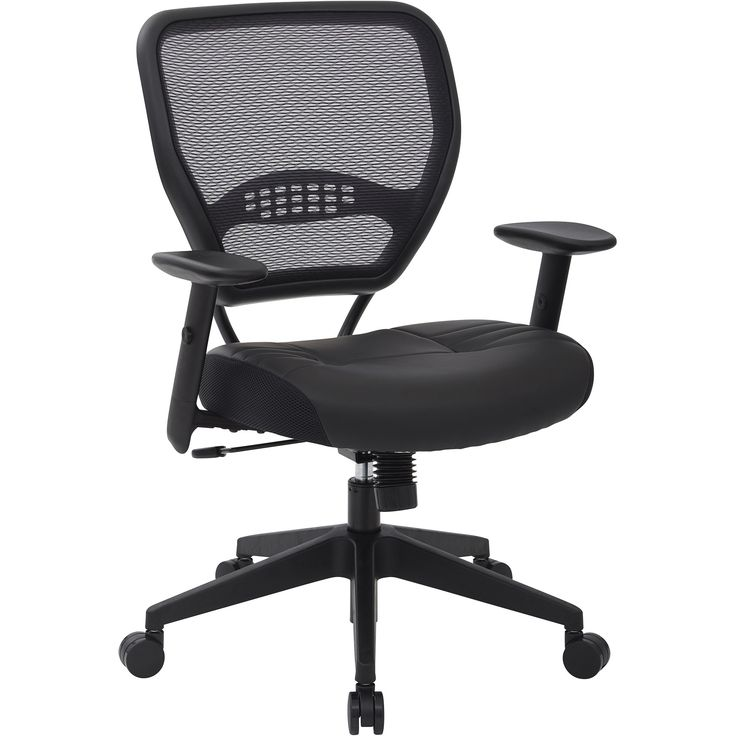 Professional Air Grid Back Manager's Chair with Bonded Leather Seat, Black