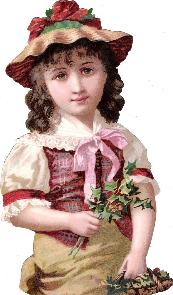 Oblaten Glanzbild scrap diecut chromo Kind child XL 26,5cm girl fille lady hat