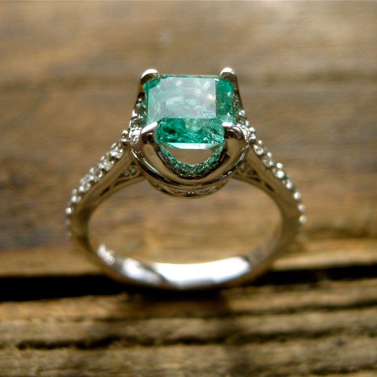 Colombian Emerald Engagement Ring in 14K White Gold with Diamonds and Scrolls on Basket Size 7 by AdziasJewelryAtelier on Etsy https://www.etsy.com/listing/214274756/colombian-emerald-engagement-ring-in-14k