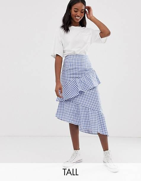 33cecc4f73 Glamorous Tall midi skirt with ruffle in gingham | clothes in 2019 ...