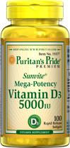 Sunvite™ Maximum Strength Vitamin D (D-3) 5000 IU  100 Softgels 5000 9.99 (or on sale 2 for $8.99) - Super Potency Formula!  This formula provides a super-dose of Sunvite™ D3, an active and potent form of Vitamin D.  Vitamin D is known as essential when it comes to building strong teeth and bones.  Supports the immune system.**  Supports breast, and colon health.**