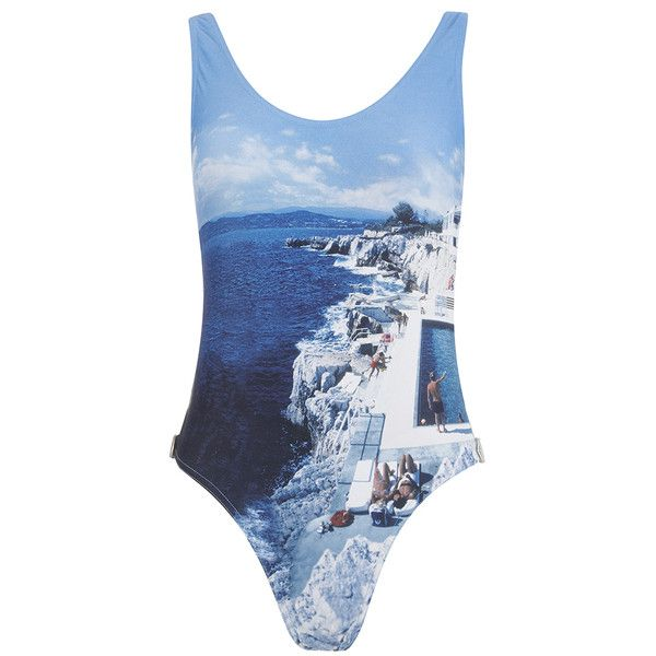 Orlebar Brown Women's Almada Hulton Getty Roc Pool Swimsuit - Blue (415 BRL) ❤ liked on Polyvore featuring swimwear, one-piece swimsuits, blue, blue bathing suit, blue swimsuit, swimming costumes, blue swimwear and bathing suit swimwear