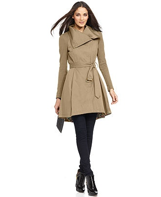 BCBGeneration Coat, Knit-Sleeve Funnel-Neck Belted Trench - Coats - Women - Macy's