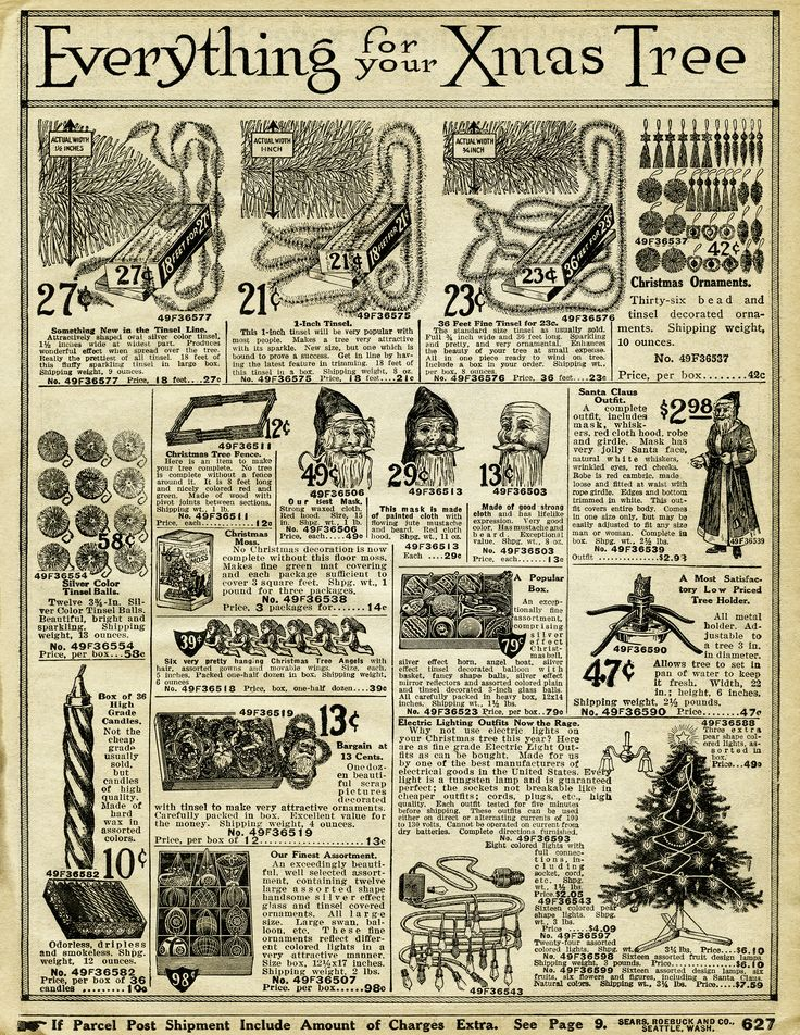 """""""Everything for Your Xmas Tree"""" ~ 1916 Sears & Roebuck Christmas decor catalogue page."""