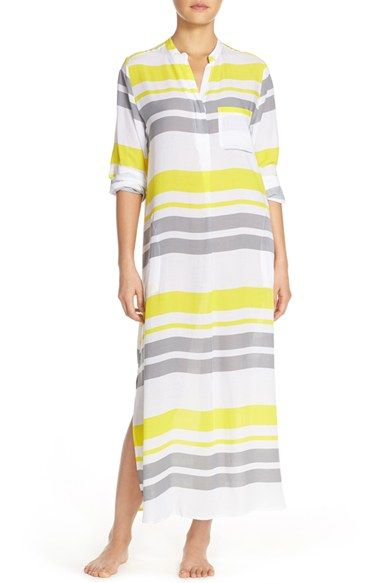 DKNY Stripe Long Sleeve Caftan available at #Nordstrom