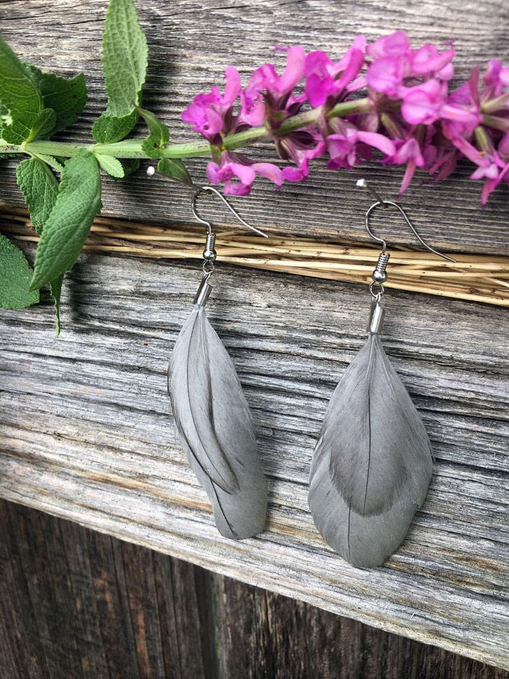 Grey Natural Feather Earrings - Cruelty free chicken feather earrings - Festival earrings - Boho fashion - Avian Designs by AvianDesigns on Etsy