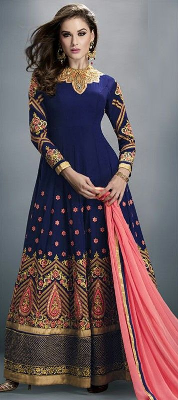 450713 Blue  color family Anarkali Suits in Faux Georgette fabric with Lace,Machine Embroidery,Stone,Thread work .