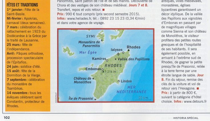 What worths the visit on the Greek island of Rhodes ? Map created by Hugues Piolet for Historia magazine.