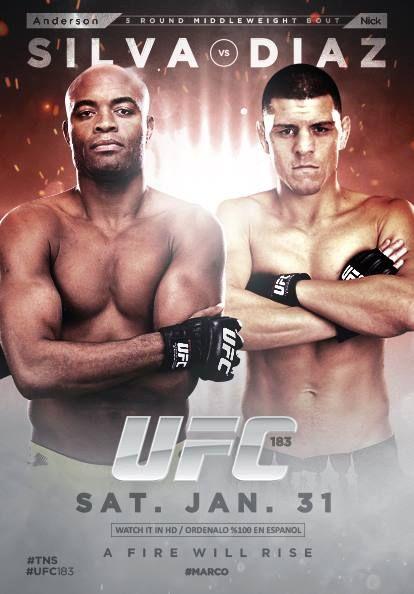 UFC 183 Ao Vivo : Anderson Silva x Nick Diaz Ao Vivo (Fan-made UFC event poster)