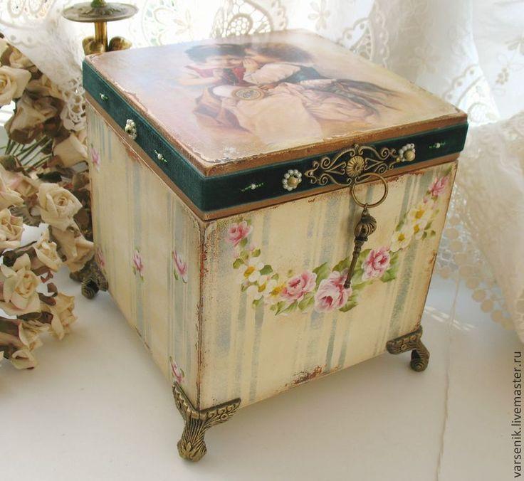 Купить Шкатулка Подружки - шкатулка, Роспись по дереву, розы, винтаж, девочки, деревянная заготовка