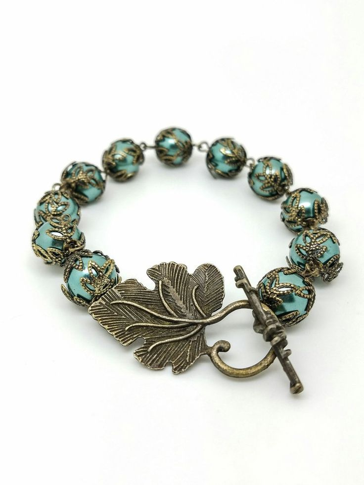 green brass pearl bracelet