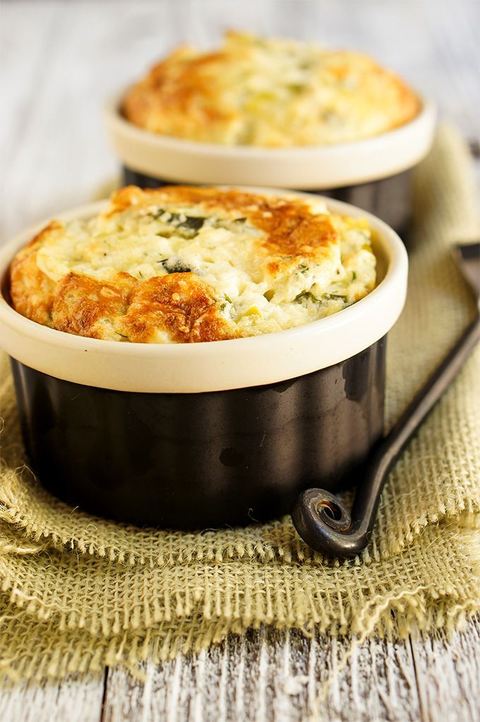 Leeks and feta cheese souffle - light and airy this souffle tastes like cheesy clouds, and caramelized leeks