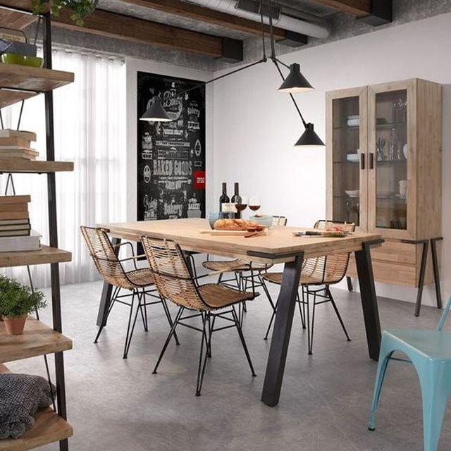 Table de repas extensible en bois