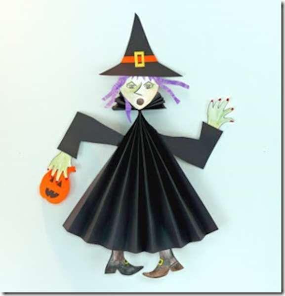 Halloween: lavoretti da fare con i bambini - Strega di cartoncino