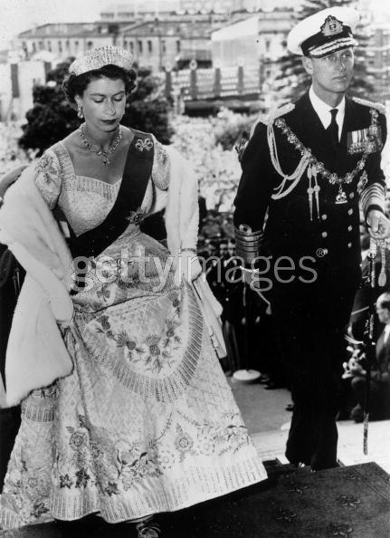 Queen Elizabeth in Australia, wearing her Coronation gown and the kokoshnic