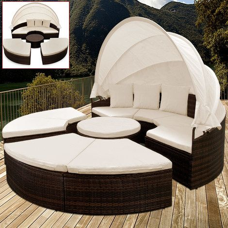 Rattan Garden Sun Day Bed with Foldable Sun Canopy. This trendy sun bed in timeless rattan look is a highlight for any terrace or indoors-living room. Polyrattan is a very stable, evenly wrapped plastic fibre that was specially developed for garden furniture. It is easy to clean and dirt-repellent.