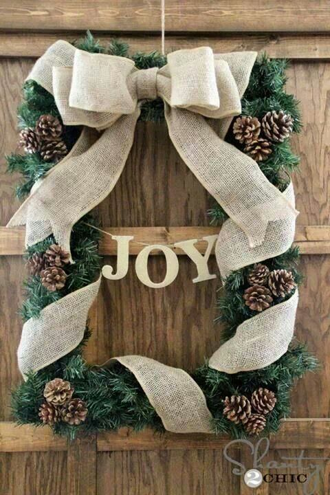 Love this! Made with an old picture frame, garland & burlap!