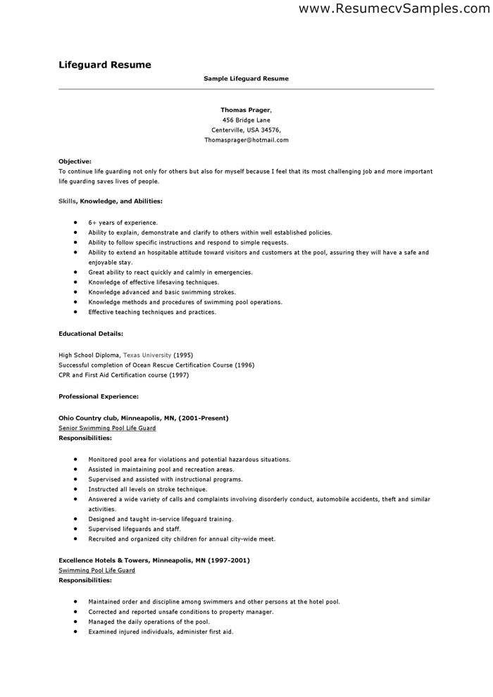 lifeguard eperience resume